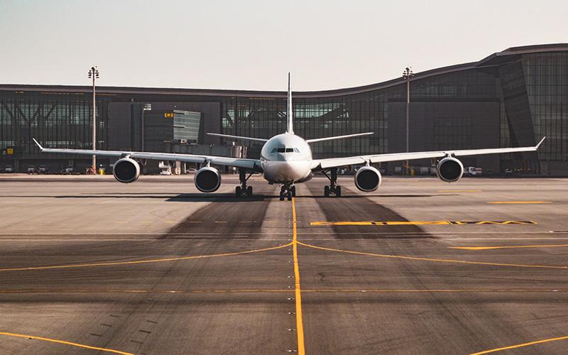 aeroplane on runway at airport