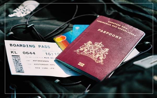 passport and boarding pass in bag