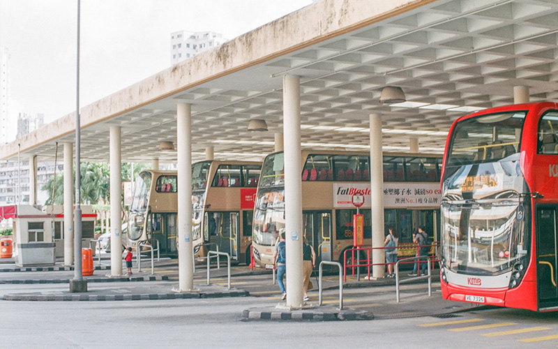Buses waiting at a bus station